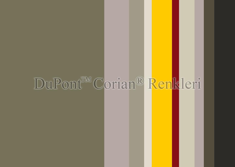 Mutfak tezgahı için DuPont Corian tezgah renkleri kartelası.
